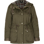 Topshop Hooded Check Lined Jacket