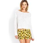 Forever 21 Sunflower Cuffed Denim Shorts