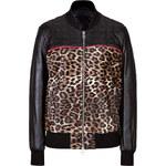 Faith Connexion Leopard Print and Leather Baseball Jacket