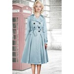 Collectif Clothing Dietrich Swing Trench Coat in Iceblue