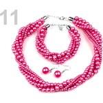 Stoklasa Náhrdelník, náramek a náušnice z voskovaných perel růžová malinová
