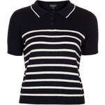 Topshop Knitted Striped Polo Top