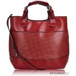 LS fashion Módní dámská červená kabelka se vzorem
