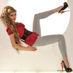 Fashion Trendy bavlněné světle šedé legíny - L/XL