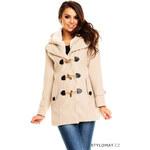 Queen O.F. Dámský béžový vlněný kabátek - XL