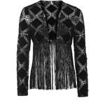 Topshop Crochet Suede Fringe Cardigan
