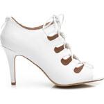 VICES Módní bílé kotníčkové boty na šněrování - E404W / S1-59P