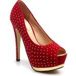 BELLE WOMEN Cvočky ozdobené úžasné červené lodičky
