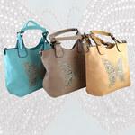 Lesara Handtasche mit Strass-Schmetterling - Khaki