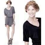 Lesara Kleid mit V-Ausschnitt - Schwarz - S