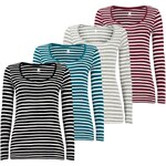 Lesara Damen-Shirt gestreift - Schwarz - S