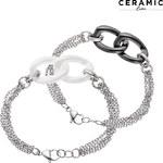 Lesara Edelstahl-Armband mit zwei Keramikgliedern - Weiß