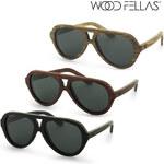 Wood Fellas Piloten-Sonnenbrille aus Holz - Ebony