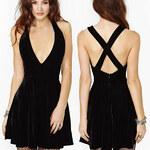 Lesara Kleid mit tiefem Ausschnitt - Schwarz - S