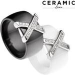 Lesara Keramik-Ring mit Kreuz-Detail - Schwarz - 52