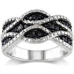 Prsten ze stříbra s černými diamanty
