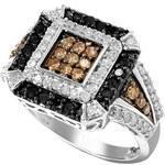 Stříbrný prsten s třemi barvami diamantů