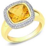 Klenota Zlatý prsten s citrínem a diamanty