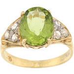 Zlatý prsten s peridotem a diamanty