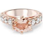 Prsten z růžového zlata s morganitem a diamanty