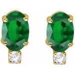 Zlaté náušnice se smaragdem a diamantem