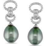 Diamantové náušnice s tahitskou perlou