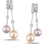 Barevné perlové náušnice s diamanty
