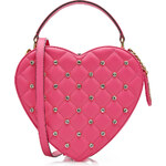 Moschino Crystal Heart Leather Shoulder Bag