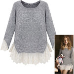 Lesara 2-in-1-Pullover mit Spitze - Grau - S