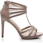 BELLE WOMEN Famózní béžové sandály se zirkony - 99851BE /S3-41P