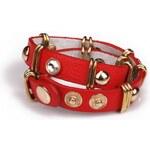 Krásná Bižu Náramek Leather Wrap červený Z113