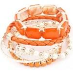 Krásná Bižu Sada náramků Gemstone oranžová Z136