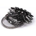 Krásná Bižu Sada náramků Black Studs Z197