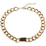 Krásná Bižu Náhrdelník Choker Chain zlatý Z390