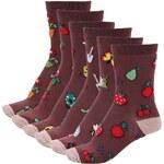 Sada šesti hnědých dámských ponožek Oddsocks Shed