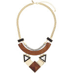 Topshop Triangle Crystal Stone Wooden Collar