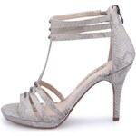 Stříbrno-šedé páskové boty na vysokém podpatku Tamaris