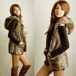 dámská kožešinová leopardí vesta