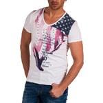 Pánské bílé tričko CARISMA / potisk vlajky USA