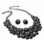 SET: Černý náhrdelník a náušnice Night 29025