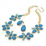 SET: Modrý náhrdelník a náušnice Spring 29295