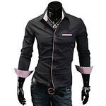 LightInTheBox Men's Shirt Collar Contrast Color Basic Long Sleeve Shirt