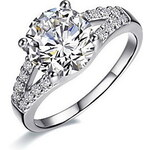 LightInTheBox 2 Carat Both Band 925 Silver White Gold Plated SONA Crystal Diamond Ring For Women Wedding