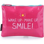 Růžová kosmetická taštička Happy Jackson Wake Up Make Up Smile!