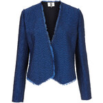 Topshop **Blue Tweed Frayed Jacket by Unique