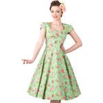 LADY V LONDON RETRO DÁMSKÉ ŠATY Apple Green Floral Polka Dot Victory velikosti: 38 (UK10)