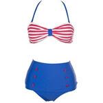 Dvoudílné modro-červené námořnícké plavky jako na obrázku, XL