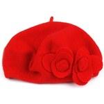 Vlněný pletený baret s květem Barva: ČERVENÁ