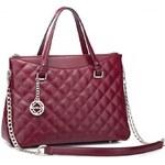 NUCELLE dámská kožená kabelka Chain červená