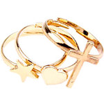 LightInTheBox 2013 New European And American Retro Cross Love Pentagram Star Three-Piece Ring